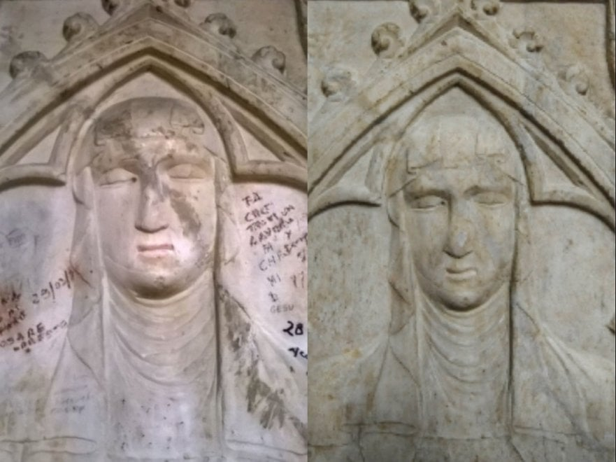 Santa Chiara a Napoli si tira a lucido: restaurate le lastre trecentesche della basilica