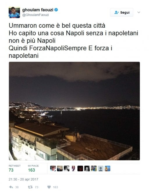 """Ghoulam su Twitter: """"Ummaron come è bella questa città"""""""