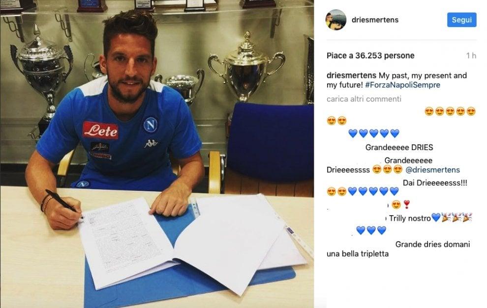 """Mertens fa impazzire i tifosi: """"Napoli: passato, presente e futuro"""""""