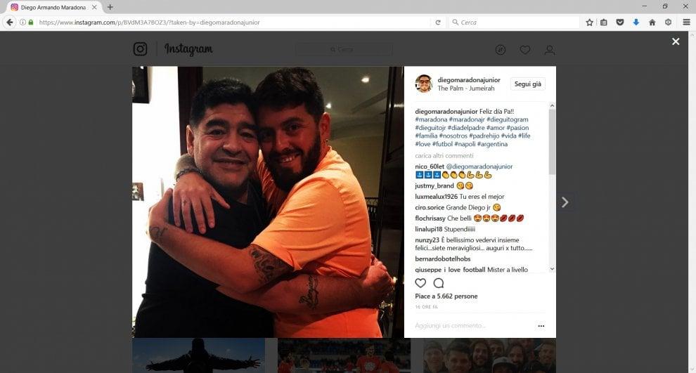 Maradona e suo figlio Diego in vacanza a Dubai