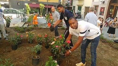 Napoli, rifugiati e residenti   piantano  fiori in piazza De Filippo