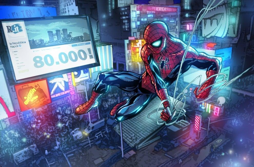 Spider-man festeggia Napoli Repubblica Facebook che tocca quota 80mila, il disegno di Ruggiero