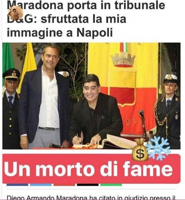 """Stefano Gabbana attacca Maradona su instagram: """"E' un morto di fame"""""""