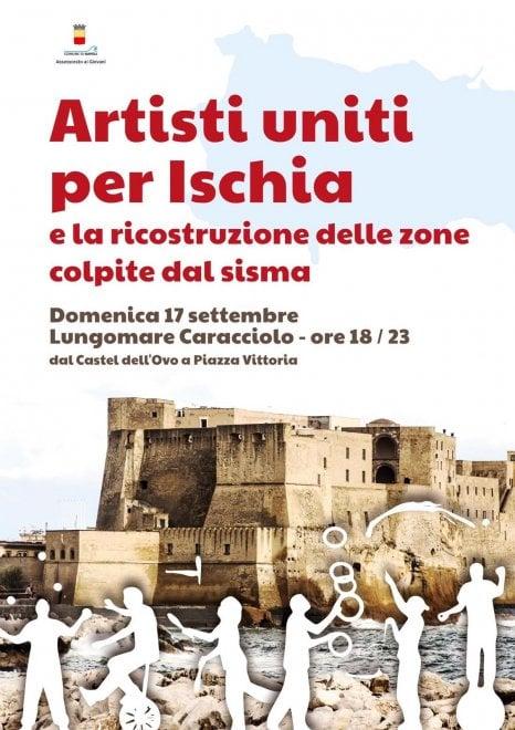 """Un ponte di solidarietà tra Napoli e Casamicciola: """"Artisti uniti per Ischia"""" sul lungomare"""