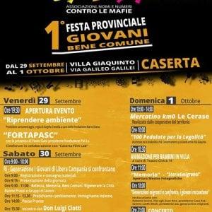 A Caserta dal 29 al primo ottobre la festa provinciale dei giovani di Libera