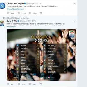 "Il Napoli celebra il primato via Twitter: ""Godiamocela"""