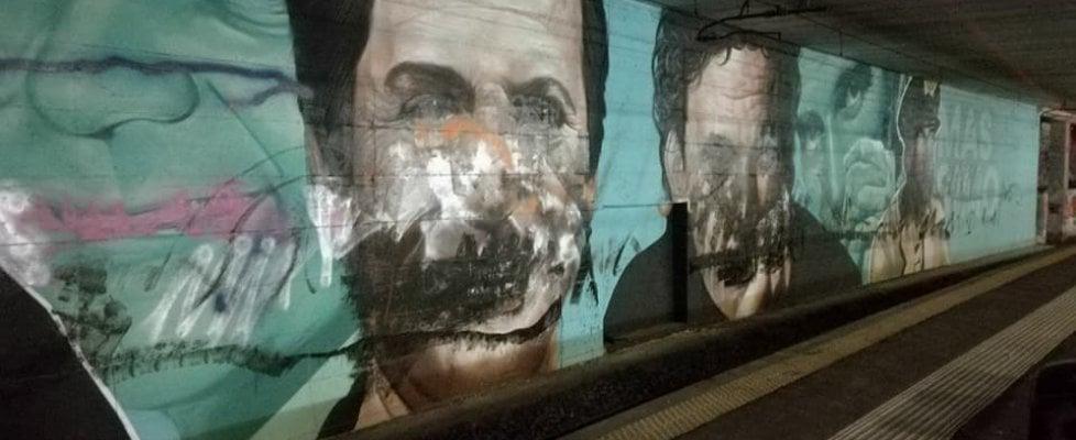 Circumvesuviana: vandalizzati i murales di Troisi, Noschese e Totò nelle stazioni