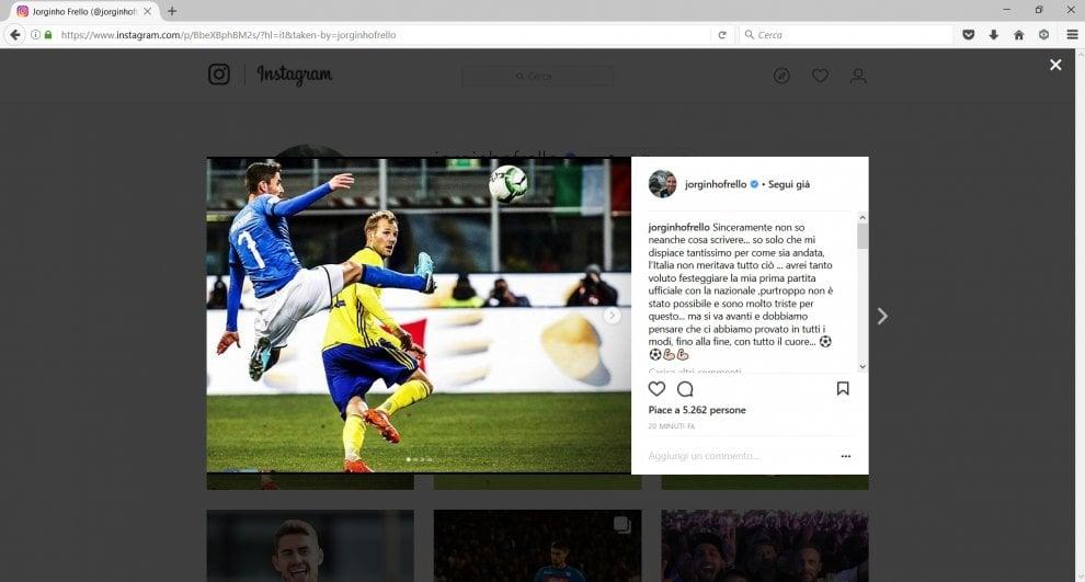 """Jorginho commenta l'eliminazione dal Mondiale su instagram: """"Mi dispiace tantissimo, l'Italia non meritava tutto ciò."""""""