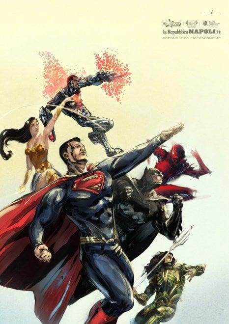 La Justice League nel tributo dei disegnatori della Scuola Internazionale di Comics