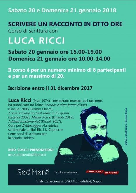 """""""Scrivere un racconto in otto ore"""", il corso di scrittura con Luca Ricci"""