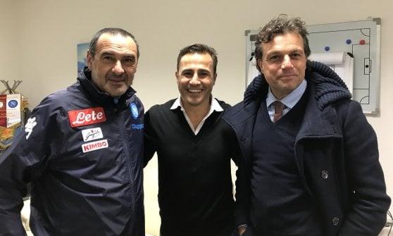 Fabio Cannavaro in visita a Castel Volturno: ha incontrato Sarri e Giuntoli