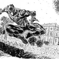 Il super eroe Marvel Pantera Nera a Capodimonte