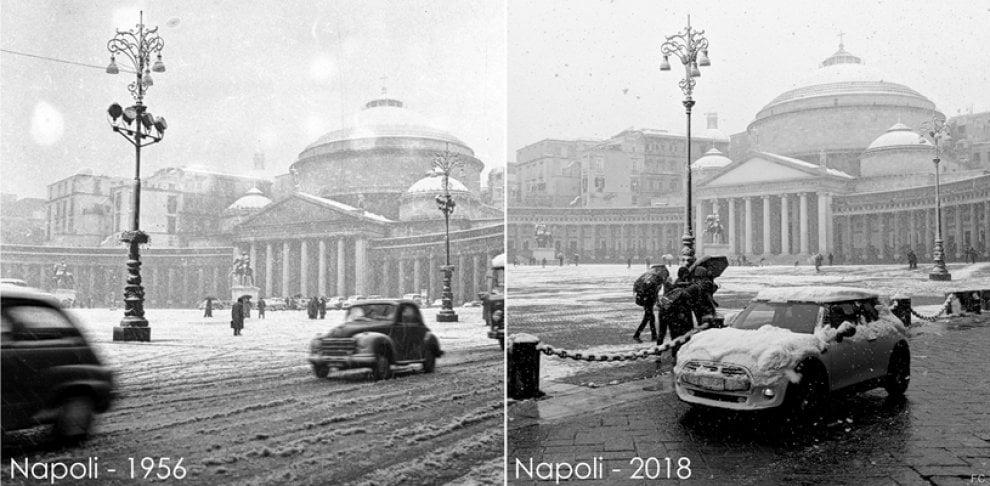 Napoli 1956-2018: lo scatto con la neve è identico