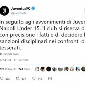 """""""Napoli usa il sapone"""": è bufera sul web per il coro dei giocatori della Juventus under 15 dopo la vittoria contro gli azzurrini"""
