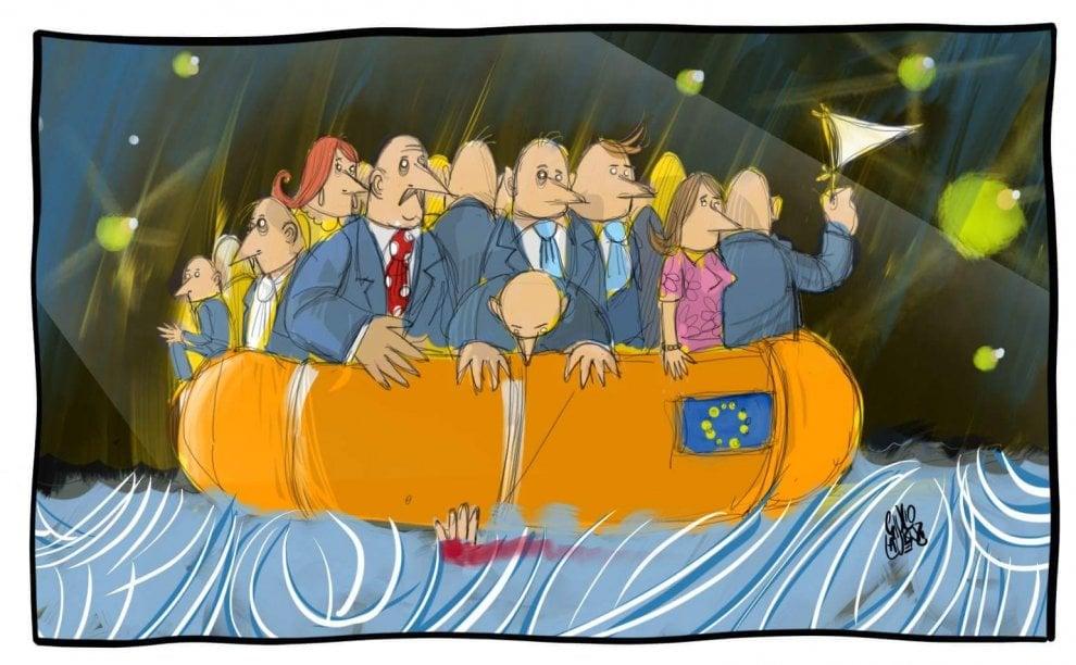 """Potenza, nella vignetta di Giulio Laurenzi  il caso Aquarius e il """"naufragio dell'umanità"""""""