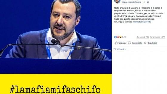 "Salvini, ""Sequestri per 60 milioni ai Casalesi"""