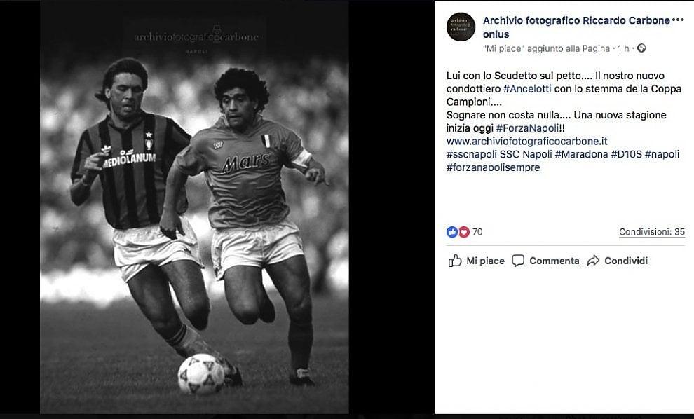 Maradona e Ancelotti sul campo: l'Archivio Carbone omaggia l'allenatore del Napoli