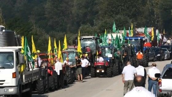 Rifiuti, marcia dei trattori in Irpinia per dire no all'inceneritore