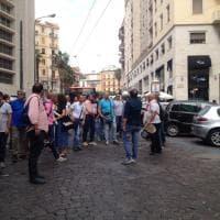 Lavoro, protesta dei lavoratori Ctp in piazza Matteotti. Traffico in tilt