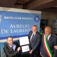 Solopaca, gli sbandieratori per l'inaugurazione del primo Napoli Club intitolato a Aurelio De Laurentiis