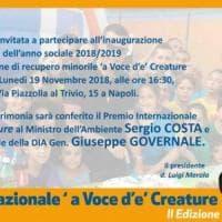 Premio A' Voce d'è Creature 2018 al ministro Costa, al direttore della Dia Governale e al generale Stefanizzi