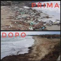 Ripulito dalla plastica il litorale di Agropoli