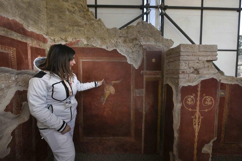 Pareti affrescate e rosso pompeiano, ecco il restauro della Schola armaturarum a Pompei