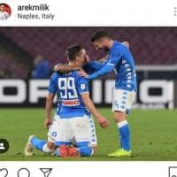 Napoli, Milik festeggia sui social la vittoria contro la Lazio: