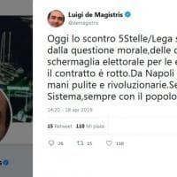 """Governo: de Magistris contro Lega e Cinque Stelle: """"Noi mani pulite"""""""