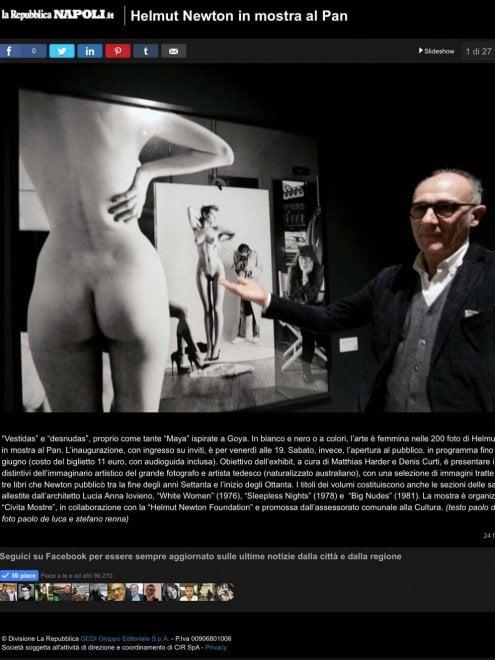 """Web, censurate da Facebook le foto della mostra di Helmut Newton su """"Napoli tutte le news"""""""
