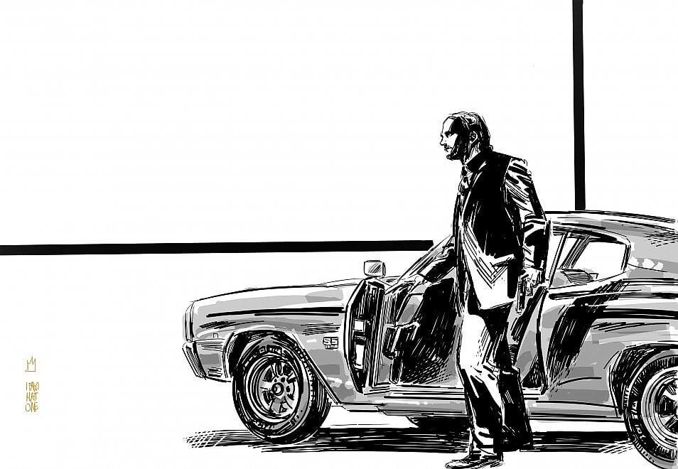 """Il disegno: """"John Wick: Parabellum"""" secondo Italo Mattone"""