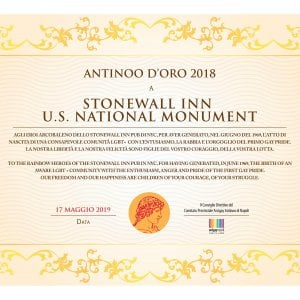 """Arcigay Napoli, premio """"Antinoo d'oro"""" agli attivisti dello Stonewall"""
