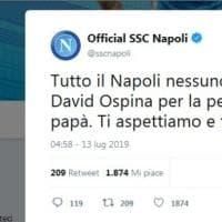"""Napoli, morto il papà di Ospina, la squadra: """"Ti siamo vicini"""""""