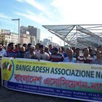 Napoli, protesta la comunità del Bangladesh: