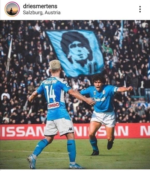 Napoli, Mertens in campo con Maradona: fotomontaggio per festeggiare un record