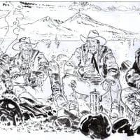 Tex, i suoi pards e il Vesuvio: il disegno-tributo di Ernesto Pugliese