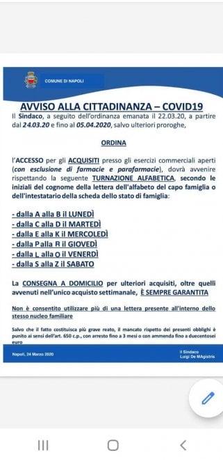 Coronavirus, a Napoli la spesa in ordine alfabetico: è un fake