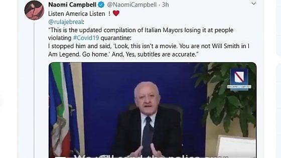 """Coronavirus: la Campbell posta su instagram il video di De Luca """"mando il lanciafiamme"""""""