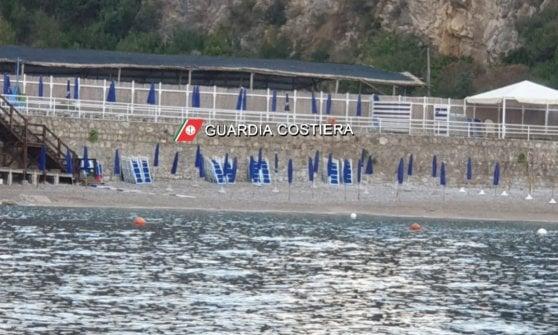 Lido abusivo a Massa Lubrense, scattano i sequestri della Guardia Costiera