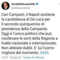 De Laurentiis schiera se stesso e il Napoli con De Luca:
