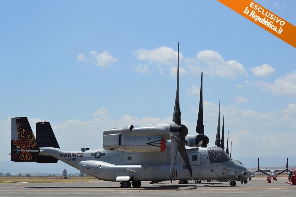 Osprey Elicottero : Ecco i droni nell hangar segreto di sigonella