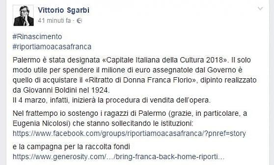 """In vendita il ritratto di donna Florio, si mobilita il popolo del web. Sgarbi: """"La compri il Comune"""