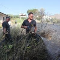 Palermo, incendio sugli argini del fiume Oreto: il fuoco minaccia le case