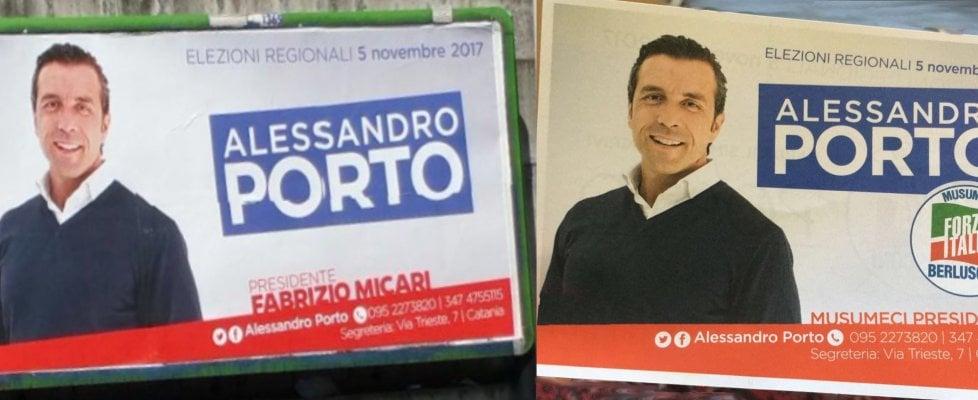 """Il candidato """"double face"""": stessi manifesti, in uno sostiene Micari nell'altro Musumeci"""