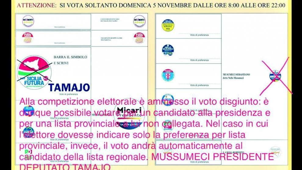 Elezioni in Sicilia: su WhatsApp il volantino di Tamajo con Musumeci