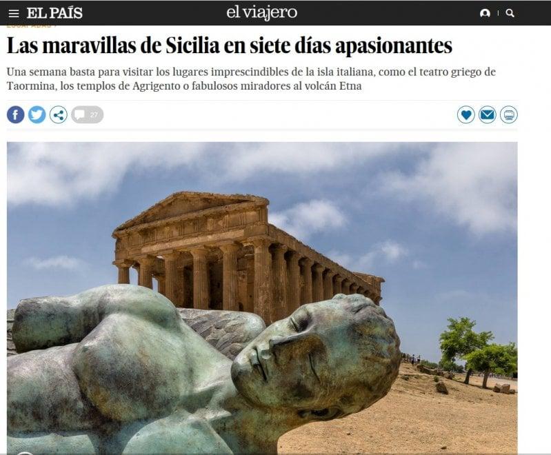 """El Paìs """"sponsorizza"""" le vacanze in Sicilia: """"Un viaggio che può durare tutta la vita"""""""