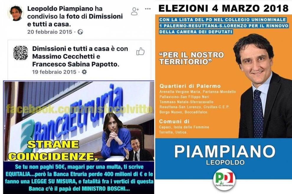 """Palermo, il candidato dem che condivideva post contro la Boschi: """"Scandalo Banca Etruria, tutti a casa"""""""