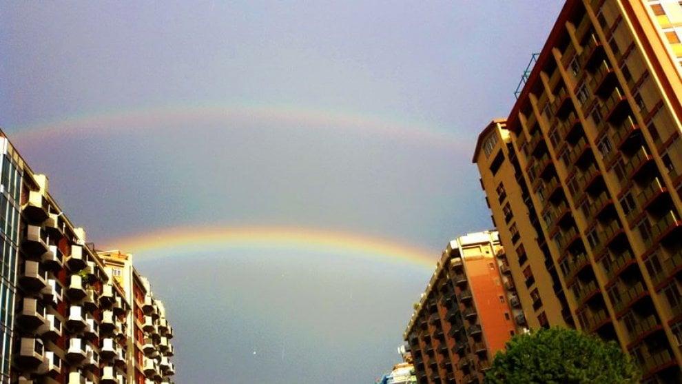 Palermo, dopo la pioggia c'è il doppio arcobaleno