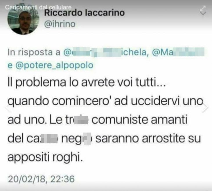 Palermo, Twitter sospende l'hater-candidato di Forza Nuova
