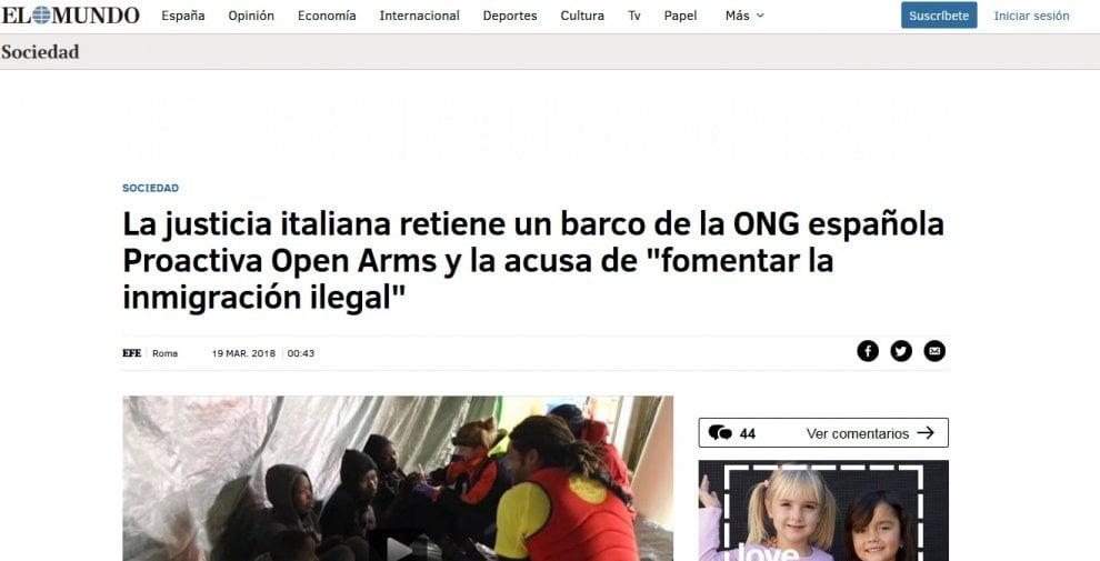 Sequestro Open Arms, la notizia sulla stampa spagnola